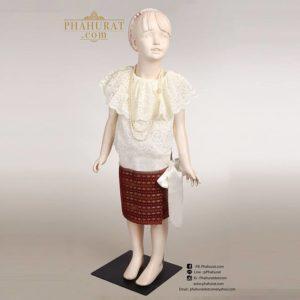 ชุดไทย ร.7 เด็กหญิง (ผ้าลายงวง)